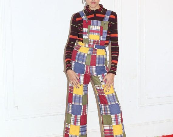 JOSEPH MAGNIN 70's designer perfect fit multicolored patchwork plaid print wide leg pant pinafore overalls coveralls romper jumpsuit