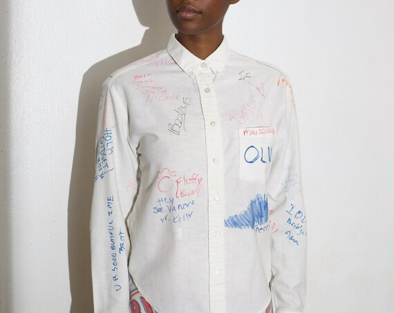 Tender nostalgic one of a kind unisex hand drawn senior class of 1993 signature graffiti friendship long sleeve memory blouse shirt