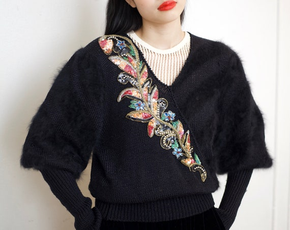 Softest 80's jet black ANGORA mix knit huge leg of mutton balloon sleeve embellished floral design wearable art fluffy furry sweater blouse