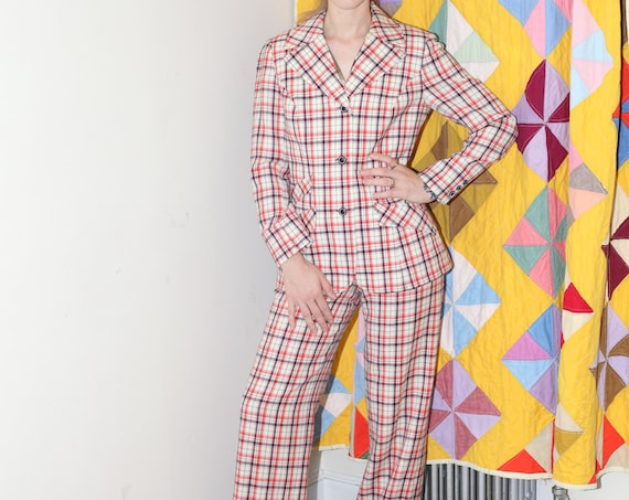 PENDLETON 60's-70's red plaid check lightweight wool high waisted pant trousers fitted wide collar blazer suit two piece pantsuit set co ord