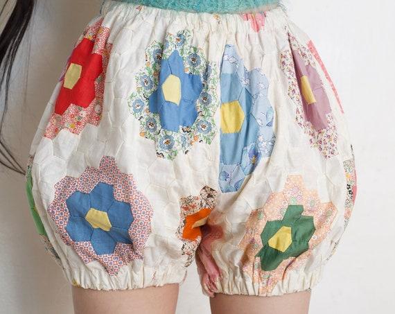 NONG RAK ORIGINAL sample handmade by us vintage 70's quilt top high waisted bloomer pantaloon shorts design