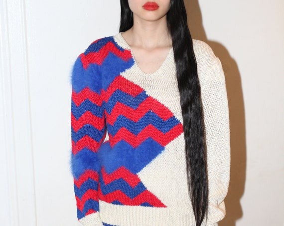 Wild 80's softest royal blue and red ANGORA knit and silky crochet cream zig zag geometric design wearable art fluffy furry sweater blouse