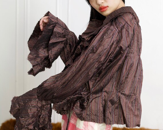 Intricate Italian art-to-wear 90's designer crinkled silk avant garde super ruffled wrap front textured blouse shirt