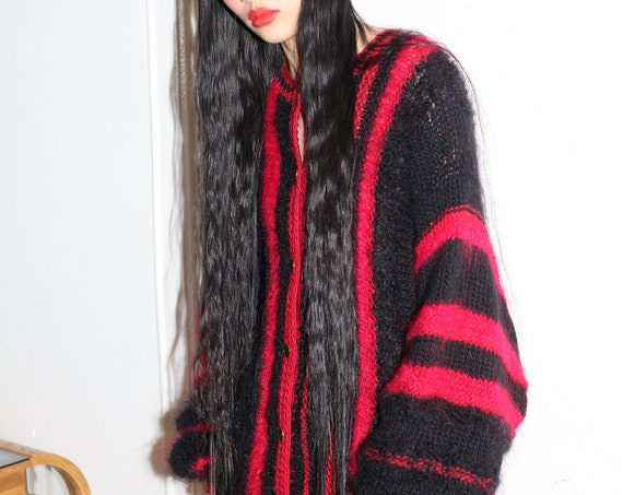 Sultry vintage textural black and red knit mohair wool fuzzy hairy one size slouchy balloon sleeve striped cardigan sweater blouse jacket