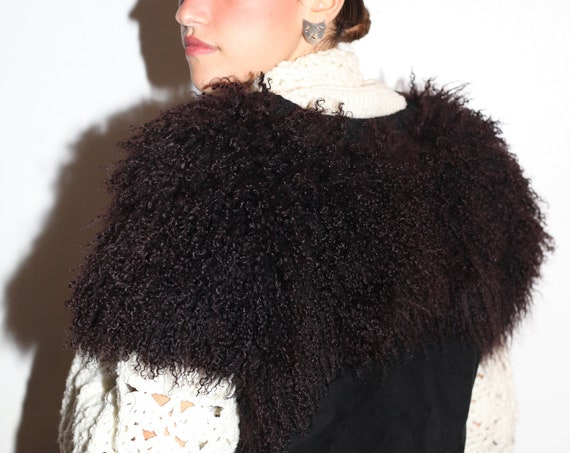 Heavenly early 80's black Mongolian curly sheep skin fur big oversized black suede bodice crochet trim vest top blouse blazer