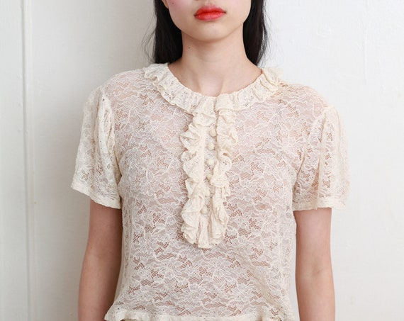 Intricate RARE antique 20's sheer off white Chantilly lace ruffle collar pirate ruffle short sleeve semi-cropped boxy top blouse shirt