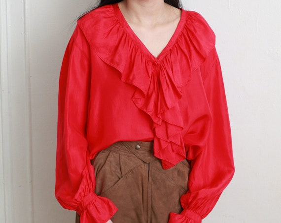 Softest parachute silk 1980's quality crimson red 100% silk shiny long balloon sleeve super ruffle front wide flowing boxy blouse shirt