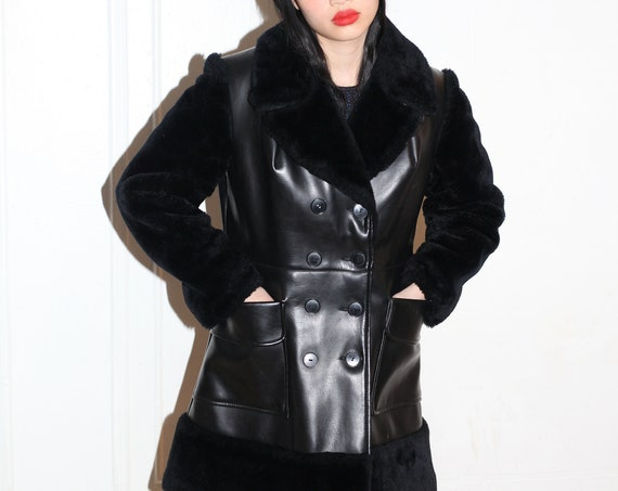 VEGAN vintage late 1960's chic jet black faux fur and faux leather button front go-go mod long statement classic lapel jacket coat
