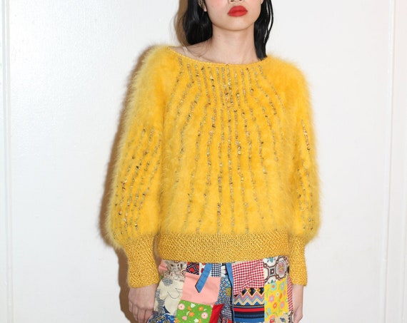 Out of this world 70s baby chick yellow vibrant angora and metallic stripe crochet hand knit quality softest fluffy blouse sweater pull over