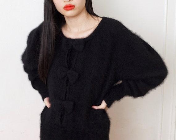 Softest 80's jet black ANGORA knit oversized dolman balloon sleeve angora knit bow front minimal sweet kawaii fluffy furry sweater blouse