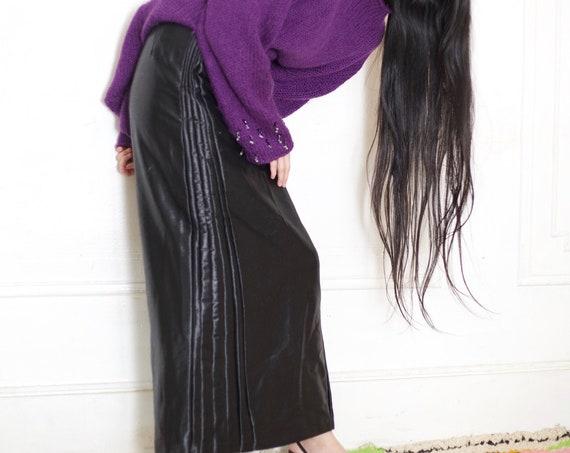 JIL SANDER vintage couture black lightweight polished wool patchwork pleat fan side high waisted avant garde minimal chic A line maxi skirt