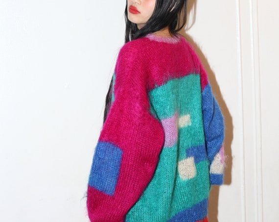 Colorful 80's textural teals and pinks color block knit mohair wool fuzzy hairy oversized one size slouchy balloon sleeve sweater blouse