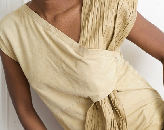 Best avant garde 80's designer natural tan calfskin suede leather asymmetrical cut out pleated sleeve power shoulder blouse top skirt