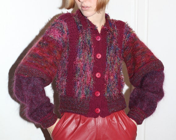 OOAK unbeatable late 70's burgundy and merlot mixed natural fiber fiber art hand knit balloon sleeve button up cardigan sweater jumper