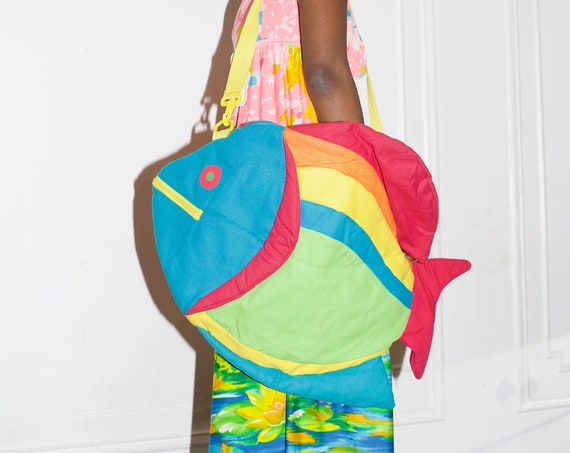 Exciting deadstock with tags LARGE neon 1980's unique multi-pocket fish shaped cross body overnight market messenger purse bag tote