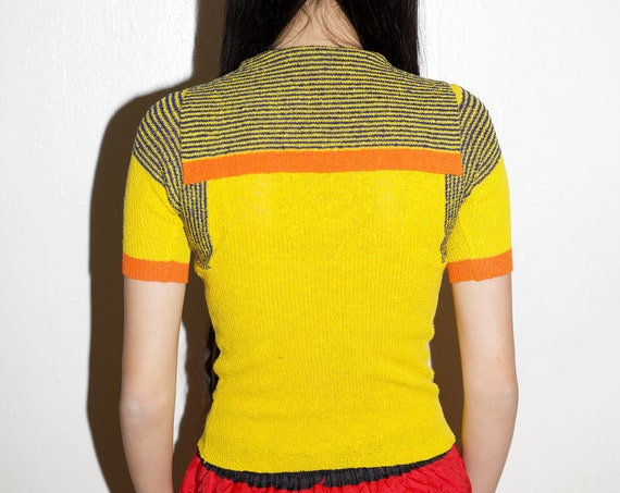 RARE vintage 1970's sunshine yellow striped knit V neck sailor collar avant garde futuristic short sleeve fitted cropped blouse shirt