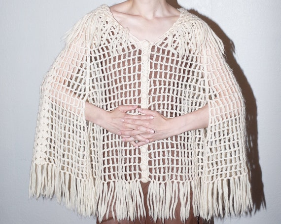Early 1960's hand knit open cage knit net overlay fringe shawl collar cream ivory cardigan sweater jacket blouse poncho
