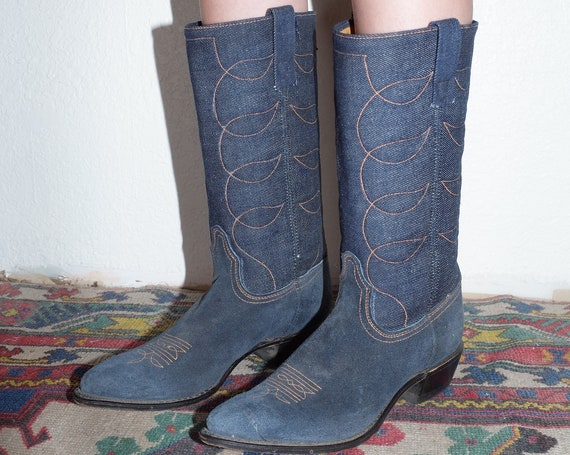 ACME avant garde designer (US 7.5) 70's quilted denim muted blue soft suede leather pointy toe embroidered cowboy cowgirl western boots