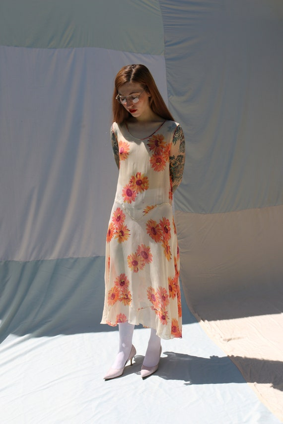 RARE sunflower antique 1930's sheer off-white floral drop pointed basque waist bias-cut deco overlay slip midi-length gown dress frock