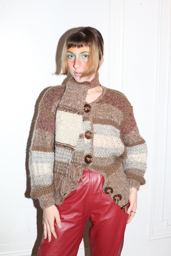 GIL AIMBEZ wearable art 70's earth tone browns mixed natural fiber designer high end attached scarf wrap button up cardigan sweater jumper