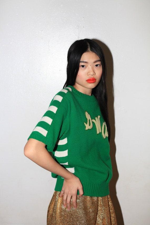 Most fun 40's-50's knit kelly green striped monogr