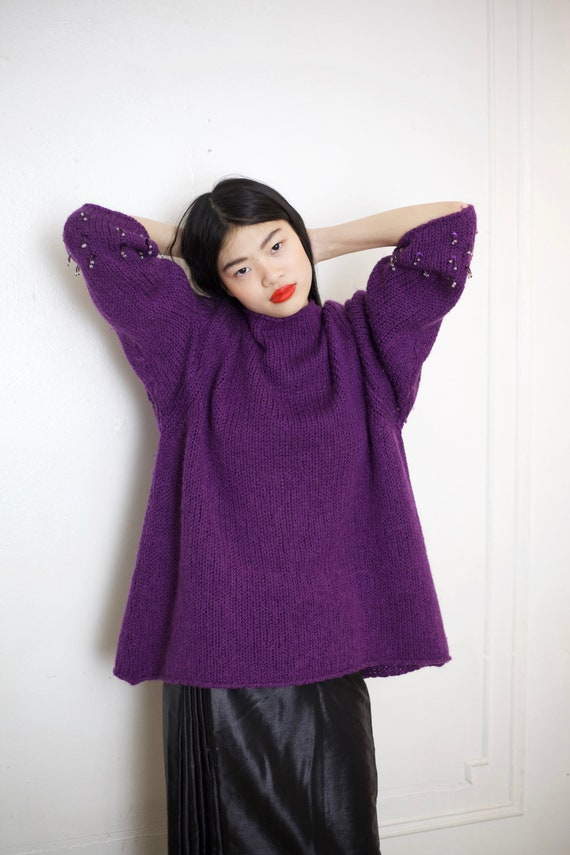 Softest ALPACA vintage grape purple angora wool knit oversized cozy beaded mini tassel jingle wrist pullover free size sweater blouse