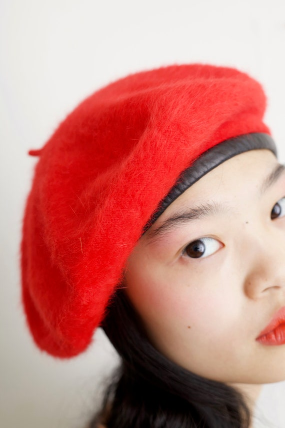 Fluffy angora vintage 1950's crimson red furry rabbit hair knit luxury angora black leather trim beret hat cap beanie