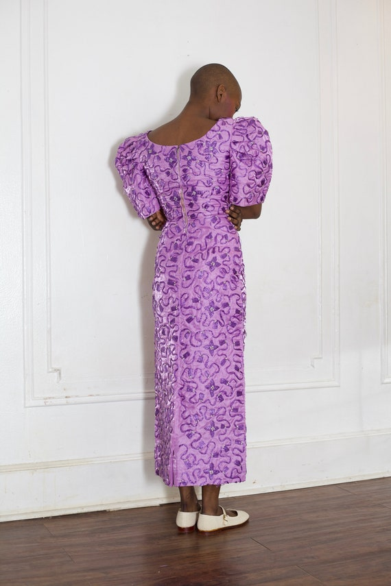 Favorite 60's tailor made Filipina purple raffia embroidered huge structured dome sleeve pencil zip back graphic dress frock gown