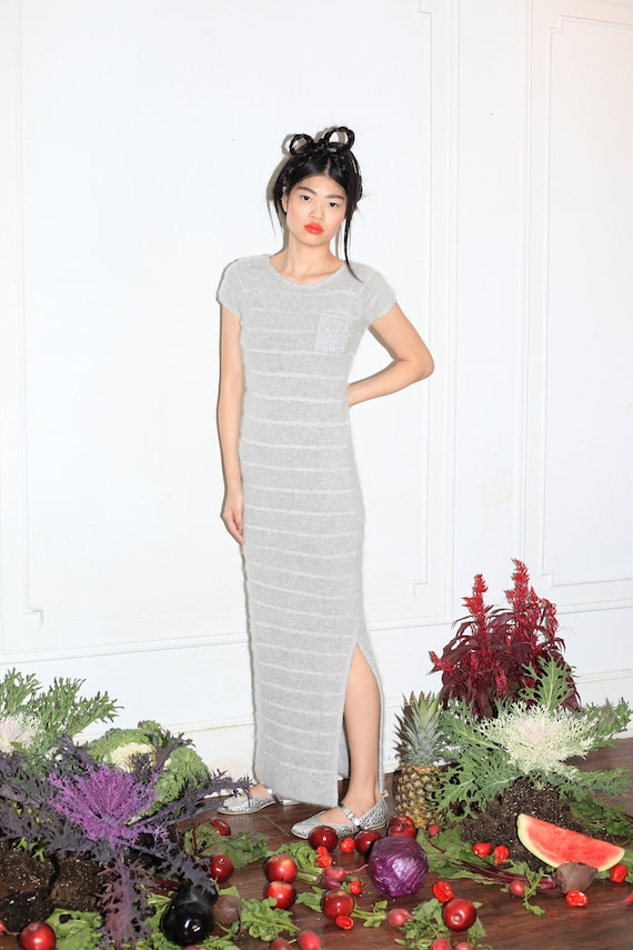 Insanely beautiful vintage 70's luxury grey fluffy ANGORA lurex knit stripe short cap sleeve fitted flattering maxi dress gown frock sweater