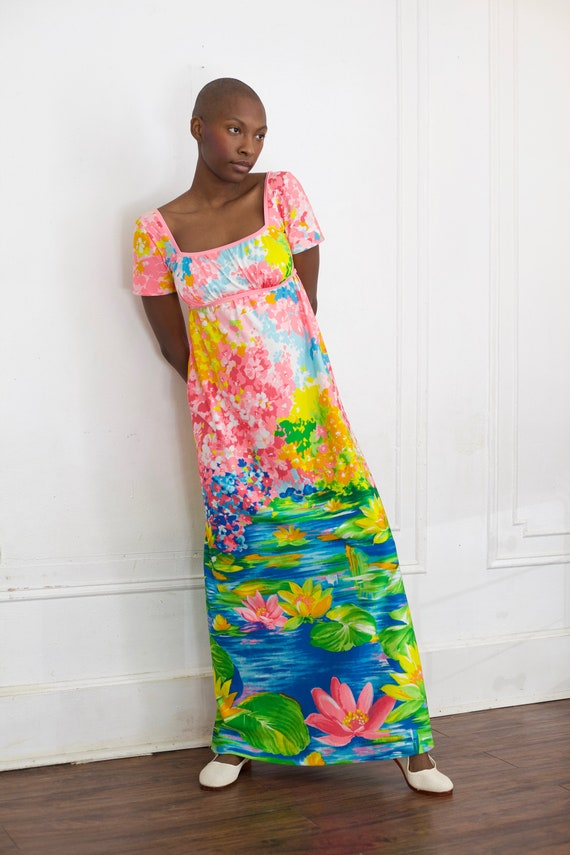 Vibrant graphic vintage late 1960's neon day glow lily pond floral garden print scene empire waist short sleeve maxi dress frock gown