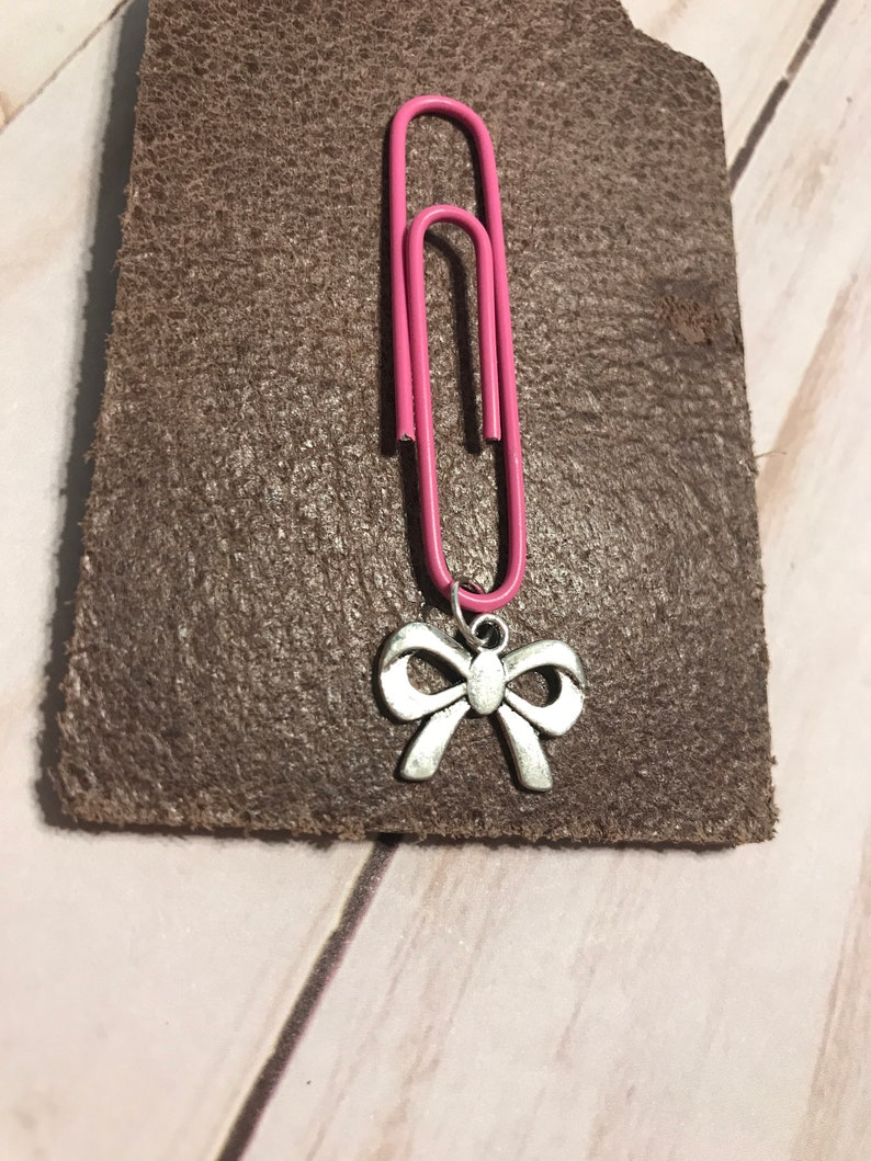 Bow charm planner clip planner girl silver bow paper clip