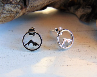 Watercolor Mountains Earring Stud Set with Hypoallergenic Settings Steel Stud Hiking Adventure Buddies Better Together Mountain Climbing