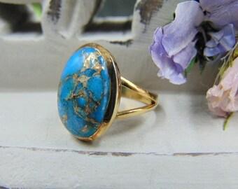 Ω Ring Scorpio with Turquoise Copper Turquoise Blue Sterling Silver 925