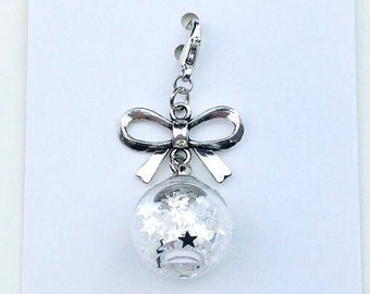 Silver Bow Star Confetti Filled Glass Ball Planner Charm, Celestial Planner Charm
