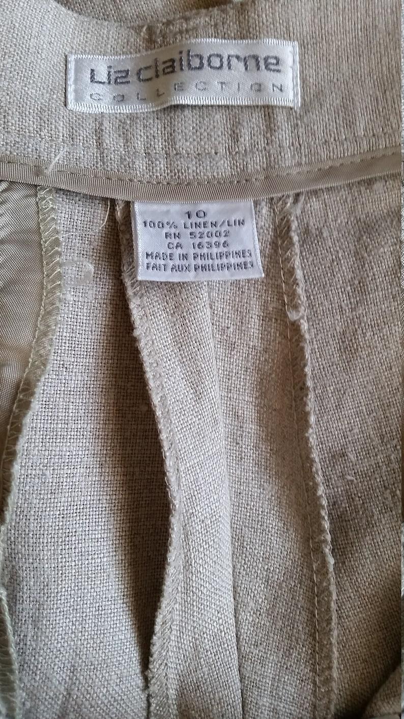 Liz Claiborne 100/% Linen Classic SlacksPantsTrousers with PocketsSize 10