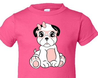 c42301d9f Toddler Tee Shirt | Girl Pug With Bow, Glasses And Long Lashes