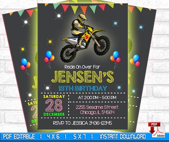 Motocross Birthday Invitation Invite