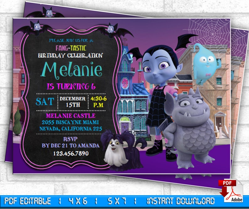 Vampirina Invitation Birthday Party Editable PDF Printables Theme Personalized