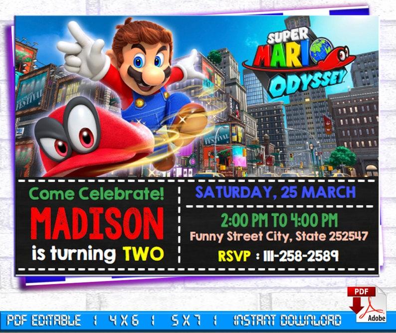 Super Mario Birthday Invitation, Super Mario Invitation Instant Download,  Super Mario Birthday, Super Mario Editable Invitation, Mario Party