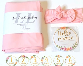 """Baby Swaddle Blanket Set Girl with Headband 13 Milestone Stickers Newborn Bundle Head Bow, Welcome Home Receiving Infant Month Wrap 48""""x48"""""""