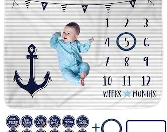 Nautical Baby Monthly Milestone Blanket Boy 12 Stickers, Calendar Months Growth Tracker, Newborn Photography Background Mat, Anchor Nursery