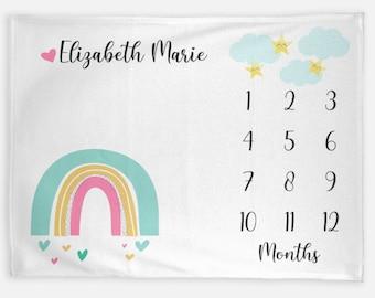 Rainbow Baby Month Blanket Girl Keepsake, Personalized Monthly Milestone Blankets, Star Cloud Pastel Neutral Nursery Growth Tracker Mat Prop