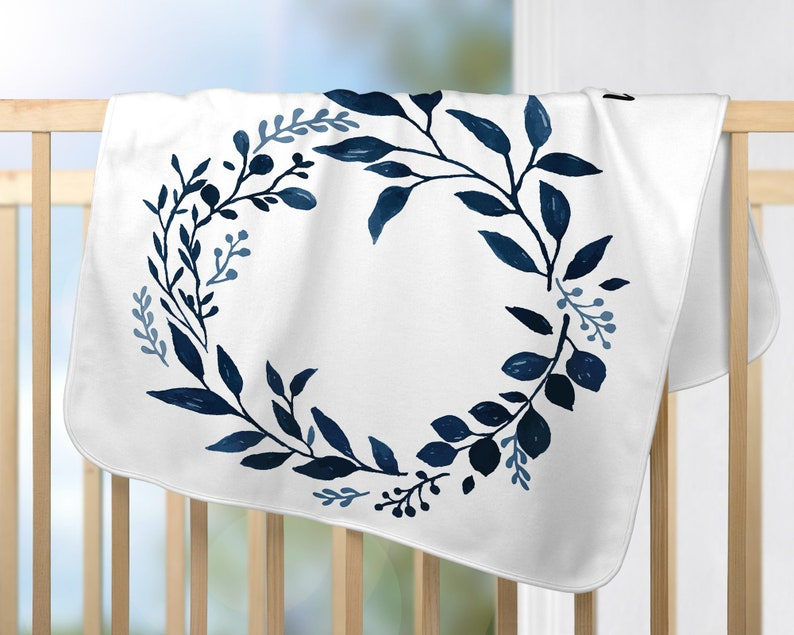Blue Foliage Leaves Milestone Wreath Blanket Floral Boy Girl Neutral Infant Month Blanket for baby pictures Baby Monthly Milestone Blanket