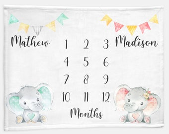 Twin Elephant Baby Month Blanket Boy Girl, Personalized Name Monthly Milestone Blankets, Growth Tracker Neutral Nursery, Twins Baby Gift