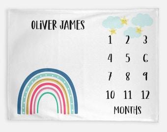 Rainbow Baby Month Blanket Boy Keepsake, Personalized Monthly Milestone Blankets, Star Cloud Pastel Neutral Nursery Growth Track Photo Prop