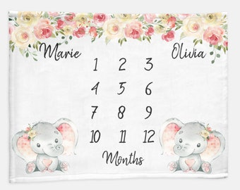 Twin Girls Floral Elephant Baby Month Blanket Girl, Personalized Name Monthly Milestone Blankets, Twin Pink Neutral Nursery, Twins Baby Gift