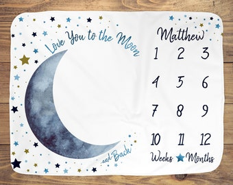 Moon Stars Baby Month Blanket Boy, Personalized Monthly Milestone Blankets, Navy Blue Neutral Nursery, I Love You to the Moon Growth Mat
