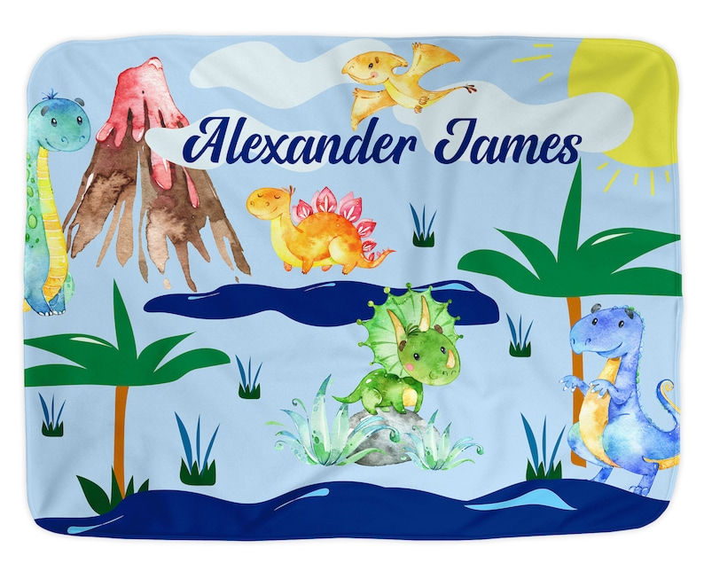 Kids Toddler Blue Name Blanket Dinosaur Baby Blanket Boy T-REX Birthday Baby Shower Gift Personalized Infant Blankets for Dino Nursery