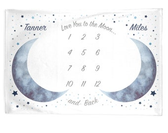 Twins Moon Stars Baby Month Blanket Boy, Personalized Monthly Milestone Blankets, Blue Pink Neutral Nursery, I Love You to the Moon and Back