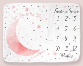 Moon Stars Baby Month Blanket Girl, Personalized Monthly Milestone Blankets, Pink Gray Neutral Nursery, I Love You to the Moon Photo Props
